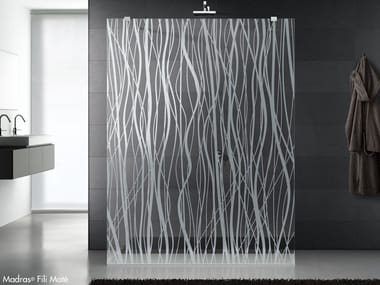 Decorated and satinated glass for shower screens MADRAS® FILI MATE'