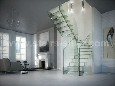 Self supporting U-shaped glass Open staircase LONDRA | Self supporting Open staircase