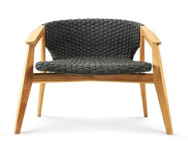 Teak armchair with armrests KNIT | Armchair