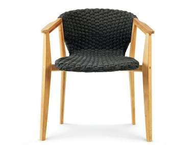 Teak garden chair with armrests KNIT | Chair with armrests
