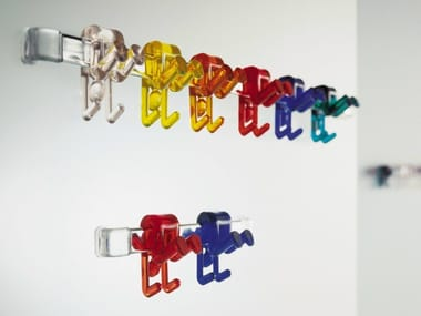 Wall hanger steel and translucent plastic GINO | Wall-mounted coat rack