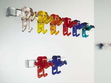 Aço cabide de parede e plástico translúcido GINO | Cabide de parede