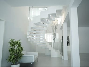Self supporting Corian® Open staircase with double bearing structure COBRA CORIAN