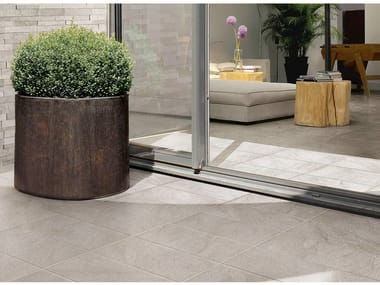 Porcelain stoneware outdoor floor tiles with stone effect STONETRACK
