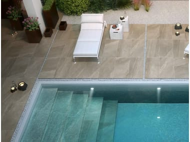 Outdoor floor tiles with stone effect LAKE STONE T20