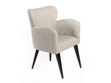 Upholstered fabric guest chair with armrests MOMA