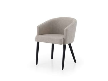 Upholstered fabric reception chair with armrests LILI