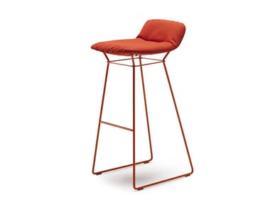 High upholstered sled base stool LEYA BARSTOOL LOW