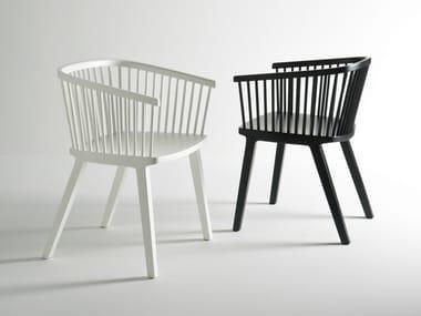 Beech restaurant chair with armrests SECRETO | Chair