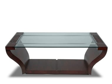 Tavolino rettangolare in legno e vetro da salotto SAMAYA | Tavolino in legno e vetro