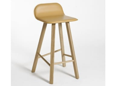 High tanned leather stool with footrest TRIA | Tanned leather stool