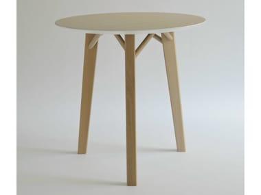 Round wood veneer table TRIA | Round table
