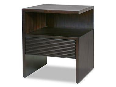 Comodino quadrato in legno massello GROOVE | Comodino