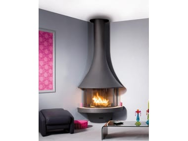 Corner fireplace with panoramic glass EVA 992 | Fireplace with panoramic glass