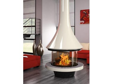 Wood-burning central fireplace with panoramic glass EVA 992 | Contemporary style fireplace