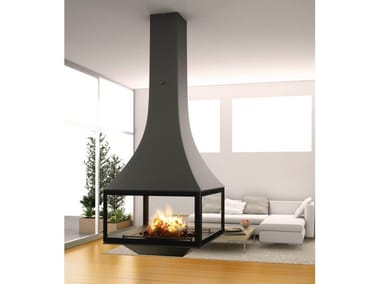 Wood-burning hanging fireplace with panoramic glass JULIETTA 985 | Hanging fireplace