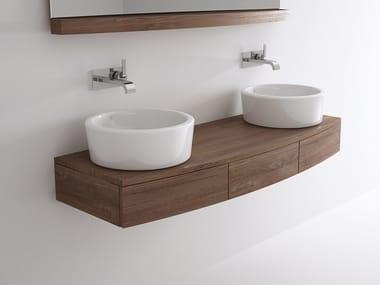 Double wall-mounted wooden vanity unit MILES | Double vanity unit