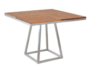 Square aluminium and wood dining table GARIS | Table