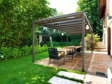 Iron gazebo with sliding cover SAINT TROPEZ | Gazebo with sliding cover