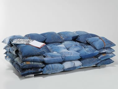 Relaxing 2 seater fabric sofa JEANS CUSHIONS