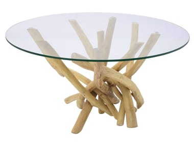 Round wood and glass coffee table FLINT STONE | Coffee table