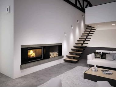 Wood-burning built-in wall-mounted fireplace ORFEO