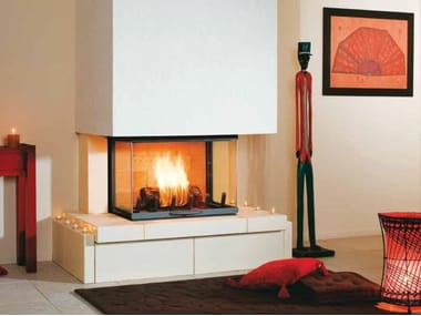 Wood-burning 3-sided fireplace LYDIE