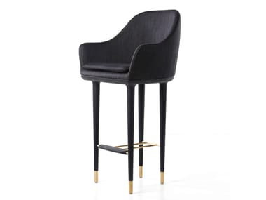 Upholstered fabric chair with armrests LUNAR BAR CHAIR