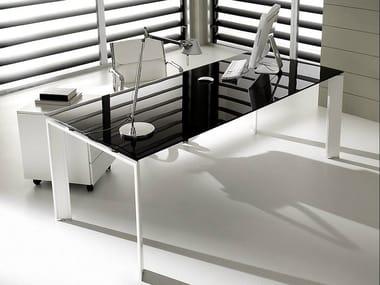 Rectangular lacquered glass executive desk PRATIKO | Glass office desk