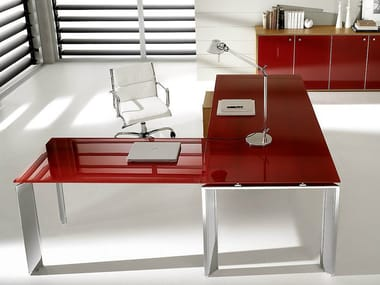 L-shaped lacquered glass executive desk PRATIKO | L-shaped office desk