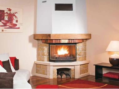 Wood-burning corner fireplace with panoramic glass MANOSQUE