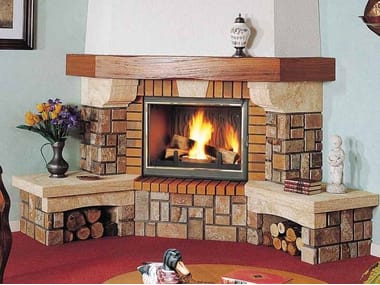 Wood-burning corner fireplace with panoramic glass LES ARCS