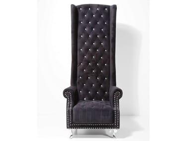 Upholstered high-back fabric armchair QUEEN BLACK VELVET