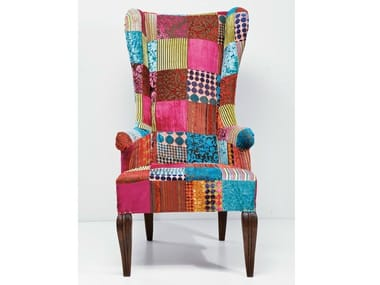 Upholstered high-back fabric armchair PATCHWORK VELVET