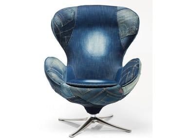 Swivel denim fabric armchair with 4-spoke base LOUNGE JEANS