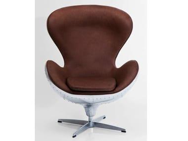 Swivel leather armchair SOHO BIG BOSS | Armchair with 4-spoke base