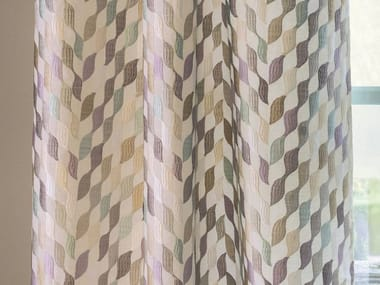 Embroidered Fabric With Graphic Pattern For Curtains APRÈS LA PLUIE |  Fabric For Curtains