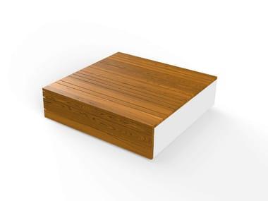 Mesita rectangular de Corian® con revistero integrado LOW BOX 25/90