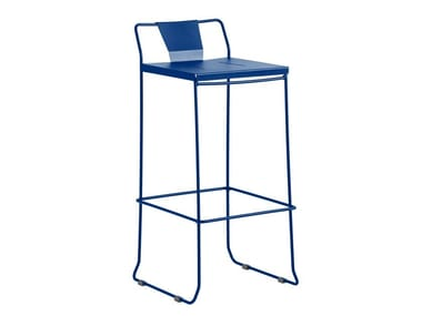 Sled base galvanized steel chair with footrest CHICAGO | Chair