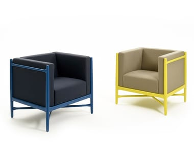 Upholstered armchair with armrests LOKA