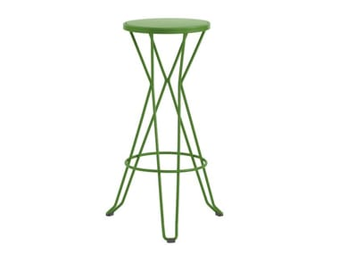 High galvanized steel barstool with footrest MADRID | High stool