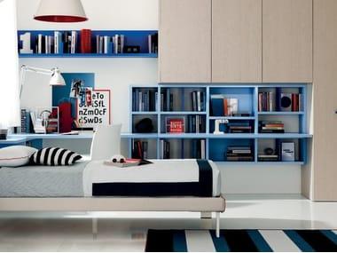 Libreria a parete laccata sospesa LINK SYSTEM | Libreria laccata