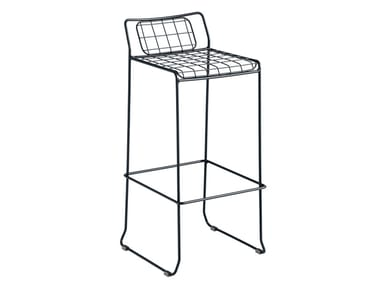 Sled base galvanized steel chair with footrest ROTTERDAM | Chair
