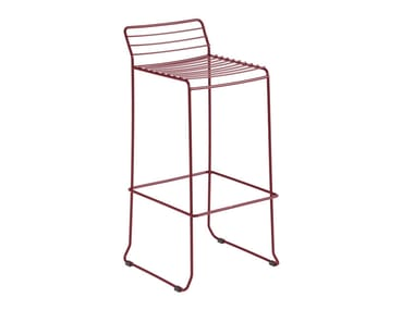 Sled base galvanized steel chair with footrest TARIFA | Chair
