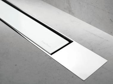 Glass shower channel MODULO DESIGN Z-2 WHITE GLASS + CHROME