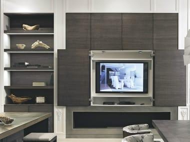 Parete attrezzata in legno con porta tv AETERNA   Parete attrezzata con porta tv