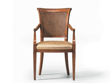 Cherry wood chair with armrests K10466