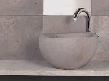 Countertop round natural stone washbasin RUPESTRI