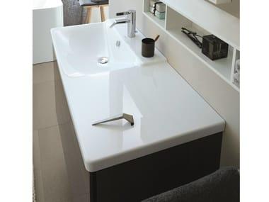 Lavabo rettangolare singolo in stile moderno con piano P3 COMFORTS | Lavabo con piano