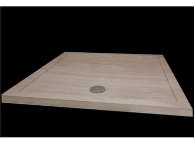 Square natural stone shower tray QUARZO